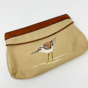 Vintage Leather Trimmed  Painted Bird Zip Clutch